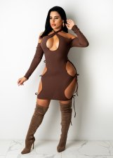 Sexy Halter Hollow Out Long Sleeve Club Dress MYP-88989