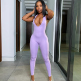 Solid Sexy Halter Backless Tight Jumpsuit XEF-1737715
