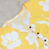 Plus Size Print Tube Top Wide-leg Pants Cloak Coat Three Piece Sets CYA-1714