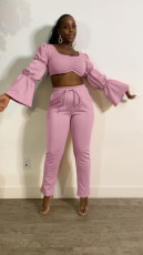 Solid Flare Sleeve Crop Top And Pants 2 Piece Sets MNSF-8219
