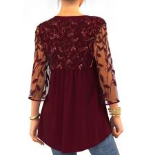 Plus Size Fashion Casual See-through Mesh Sleeve V-neck Top CYA-1729