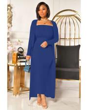 Plus Size Ribbed Long Cloak+Long Tube Dress 2 Piece Sets QYF-5091