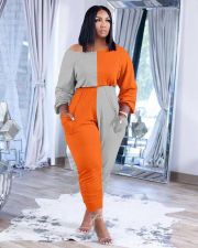 Plus Size Patchwork Long Sleeve Stacked Jumpsuit XSF-6073