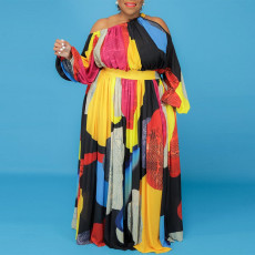 Plus Size Fashion Contrast Color Printed Maxi Dress CYA-1717