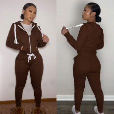 Solid Sports Hooded Zipper Thick 2 Piece Pants Set FSL-F179