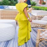 Plus Size Fashion Sexy V-neck Party Irregular Dress With Belt CYA-1719