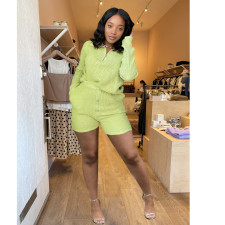 Solid Knitted Long Sleeve Two Piece Shorts Set FSL-F177