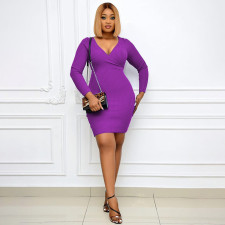 Plus Size Solid Ribbed V Neck Long Sleeve Bodycon Dress YUHF-80906