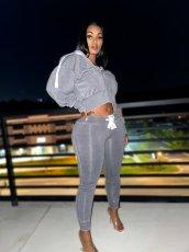 Velvet Hooded Zipper Long Sleeve 2 Piece Pants Set QYF-5090