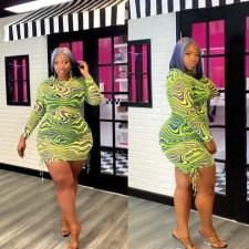 Plus Size Mesh Print Drawstring Long Sleeve Mini Dress HEJ-6094