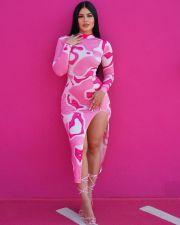 Sexy Printed Long Sleeve Midi Dress CY-6533