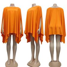 Solid Loose Batwing Sleeve Irregular Dress CY-7065