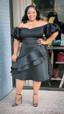 Plus Size Black Short Sleeve Midi Dress CY-7067