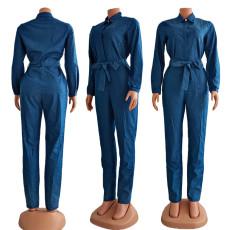 Denim Long Sleeve Turndown Collar Sashes Jumpsuit CY-6537