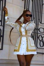 Casual Printed Long Sleeve Sashes Shirt Dress CY-6532