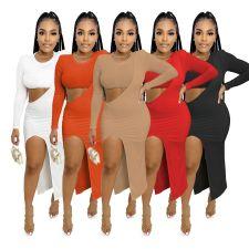 Solid Sexy Long Sleeve One Shoulder Crop Top+Irregular Dress 2 Piece Sets IV-8258