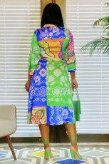 Casual Printed 3/4 Sleeve Sashes Midi Shirt Dress CY-7066