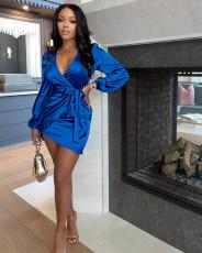 Sexy V Neck Long Sleeve Mini Dress ZSD-0429