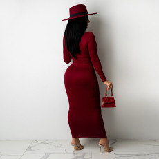 Sexy Long Sleeve Hollow Out Maxi Dress NLAF-60098