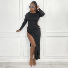 Solid Sexy Long Sleeve High Split Maxi Dress YF-10003