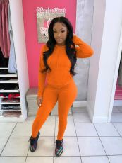 Solid Sports Hoodie Two Piece Pants Set ZMDF-9139