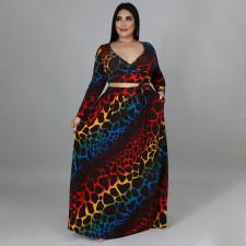 Plus Size Printed V Neck Long Sleeve Maxi Skirt 2 Piece Sets NNWF-7357