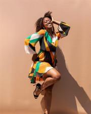 Geometric Print Ruffle V Neck Long Sleeve Mini Dress YUYF-6104