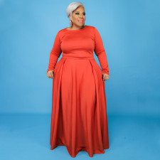 Plus Size Solid Long Sleeve Maxi Skirt 2 Piece Sets NNWF-7352