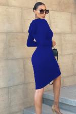 Solid Hooded V Neck Drawstring Split Midi Dress WY-6854