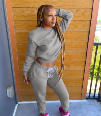Solid Sports Long Sleeve Two Piece Pants Set WAF-77306
