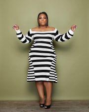 Plus Size Striped Long Sleeve Midi Dress WAF-77310