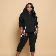 Solid Sports Hoodie Sweatpants Two Piece Sets WTF-9173