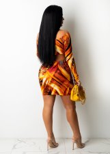 Sexy Printed Long Sleeve Hollow Out Club Dress OM-1283