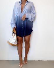 Gradient Long Sleeve Loose Shirt Dress MK-3066