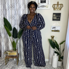 Plus Size Sexy Printed V Neck Long Sleeve Jumpsuit NNWF-7366