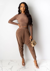 Solid Long Sleeve Harem Pants Two Piece Sets ABF-3039