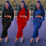 Solid Long Sleeve Crop Top Split Long Skirt 2 Piece Sets GLF-10063