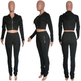 Solid Hooded Zipper Long Sleeve 2 Piece Suits HMS-5520