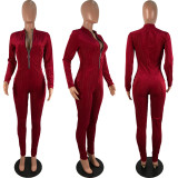 Sexy Long Sleeve Zipper Skinny Jumpsuit ABF-3048