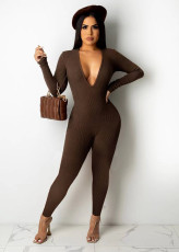 Solid V Neck Long Sleeve Tight Jumpsuit QIYF-1036