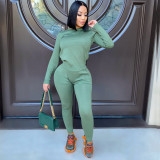 Solid Long Sleeve Two Piece Pants Set IV-8266