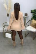 Solid Long Sleeve Split Mini Skirt 2 Piece Sets LQ-050