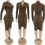 Solid Sexy Ruched Long Sleeve Butons Bodycon Dress FNN-8641