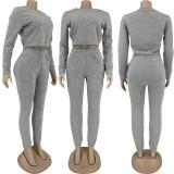Solid Fleeced Long Sleeve Two Piece Pants Set FNN-8643