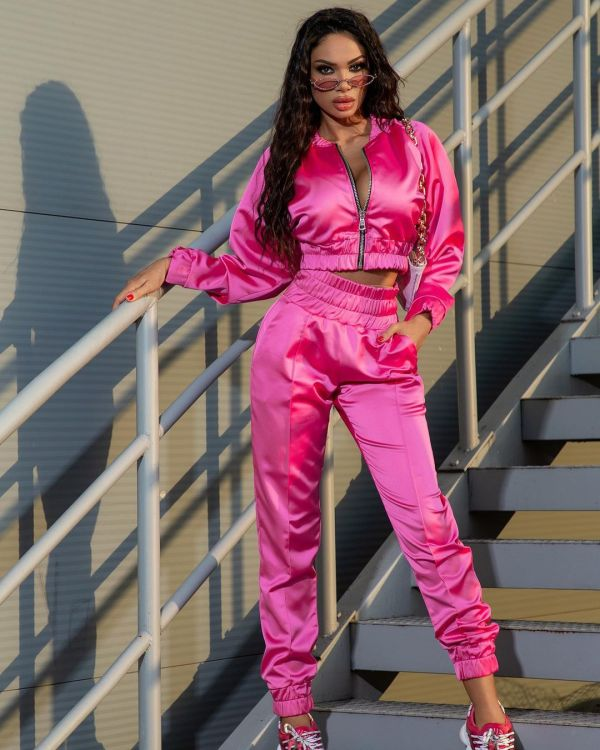 Solid Zipper Jacket And Pants Two Piece Sets HM-6529