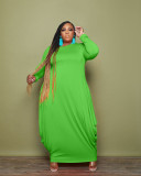 Plus Size Solid Long Sleeve Loose Maxi Dress CQF-90091