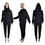 Plus Size Solid Hoodie Top And Pants Two Piece Suits LP-66318