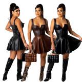 PU Leather High Waist Pleater Mini Skirt AWF-5903