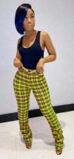Plaid Print Skinny Stacked Pants CM-2163