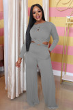 Solid Long Sleeve Two Piece Pants Set ABF-3030